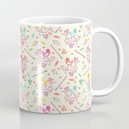 Seamless colorful floral pattern with birds and berry Coffee Mug
