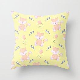 Happy Birthday Orange Fox on Yellow Background Pattern Throw Pillow