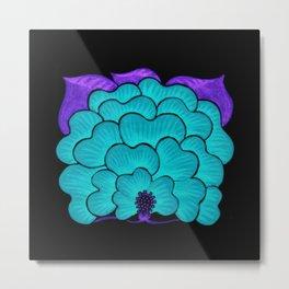 Welcome Flower (blue on black) Metal Print