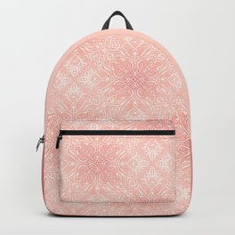 Blush Peach Pink Textured Folk Art Doodle Backpack