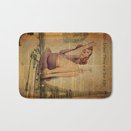 vintage newspaper print paris eiffel tower pin up girl Bath Mat