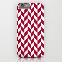 Burgundy Red and White Herring Pattern iPhone Case