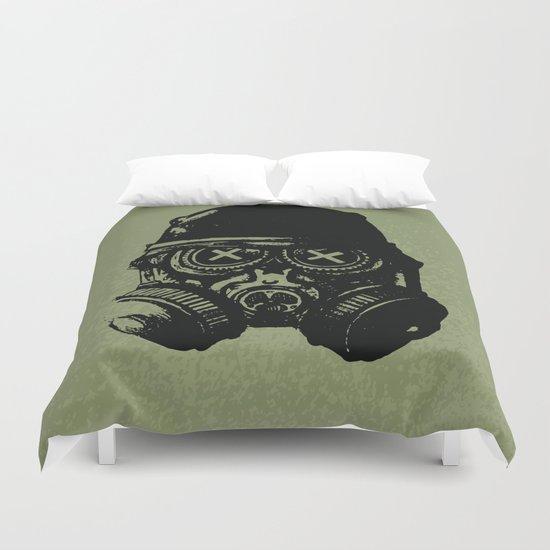 Gas mask skull Duvet Cover