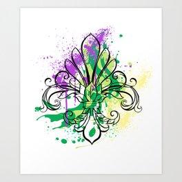 Mardi Gras Art Splash Art Print