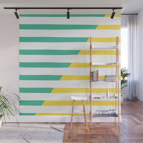 Beach Stripes Green Yellow by theoldartstudio