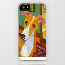 """Greyhound with grandfather clock """"Time's up"""" iPhone Case"""