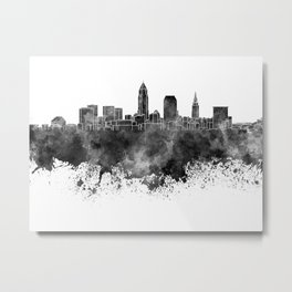 Cleveland skyline in black watercolor on white background Metal Print