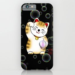 Lucky cat, calico maneki with pearl iPhone Case