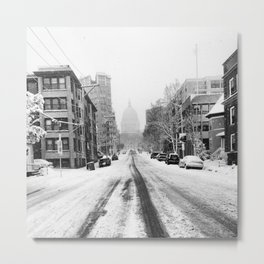 Snowy Street Metal Print
