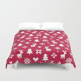 PIXEL PATTERN - WINTER FOREST RED Duvet Cover