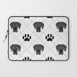 Black Great Dane Paw Print Pattern Laptop Sleeve