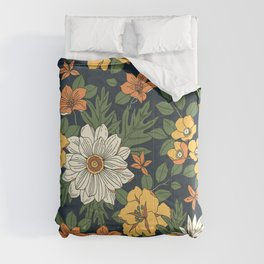 Vintage floral pattern. Yellow and white flowers. Comforters