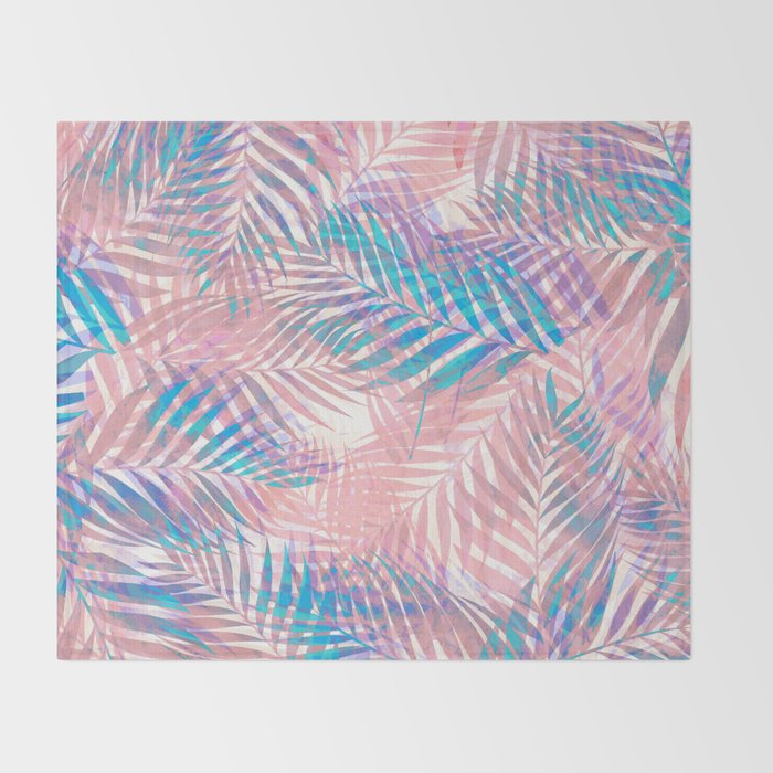 Palm Leaves - Iridescent Pastel Throw Blanket