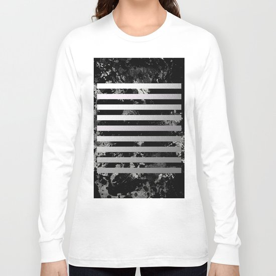 Industrial Action - Metallic, black and white, abstract, geometric, textured painting Long Sleeve T-shirt