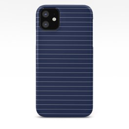 Navy Blue Pinstripes Lines Minimal iPhone Case