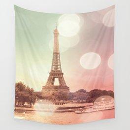 Paris Eiffel Tower Warm Bokeh Wall Tapestry
