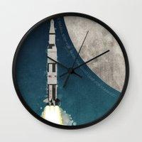 apollo Wall Clocks featuring Apollo Rocket by WyattDesign