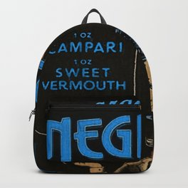 Blue Arancina's Negroni Campari Italian Sweet Vermouth with Gin Vintage Advertising Poster Backpack