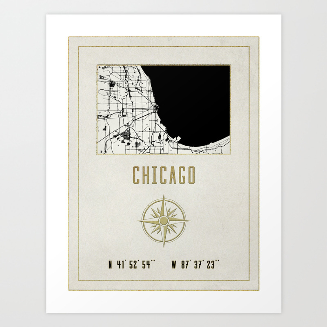 Geographical Art Prints Society - Chicago map artwork