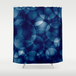 Dark intersecting translucent sea circles in bright colors with a blue glow. Shower Curtain