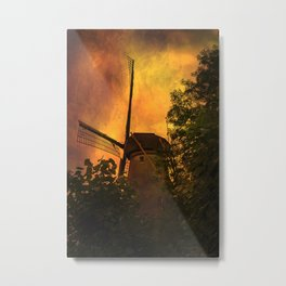 Old windmills in small town of Woudrichem, Holland Metal Print