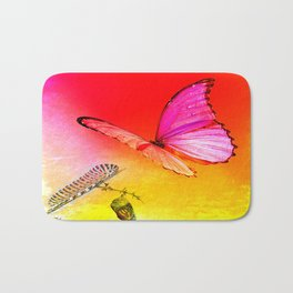 The butterfly, the caterpillar and the chrysalis Bath Mat