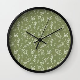 Leafy Botanical Line Art Pattern - Olive Green and White Wall Clock