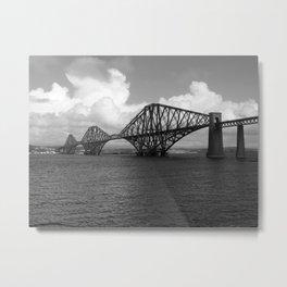 Forth Bridge Scotland Black & White Metal Print