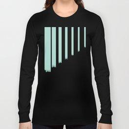 Soft cyan stripes on concrete Long Sleeve T-shirt