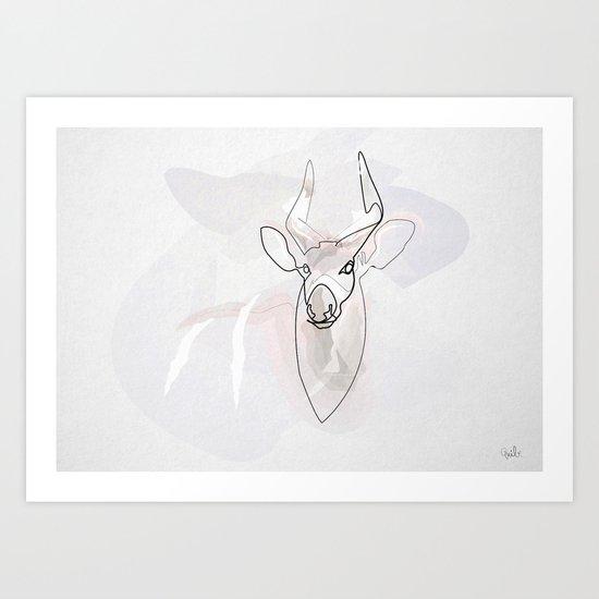 One line Bongo antelope Art Print