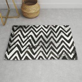 Black Chevron Stripes Boho Designs soutwestern goth Rug