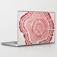 tree rings Laptop & iPad Skins featuring Red Tree Rings by Cat Coquillette