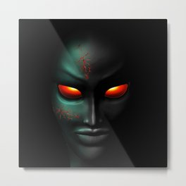 Zombie Ghost Halloween Face Metal Print