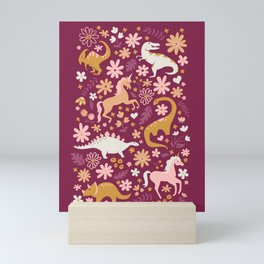 Dinosaurs + Unicorns on Burgundy Mini Art Print
