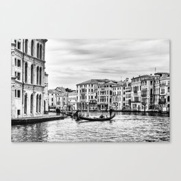 Gondola and tourists in Venice Canvas Print