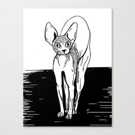 Black and White Sphynx Cat Line Drawing - Sphynx Lovers Gift - Naked Cat - Wrinkly Kitty Canvas Print