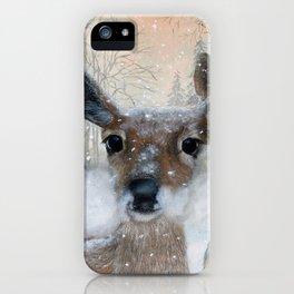 Deer in the Snowy Woods iPhone Case