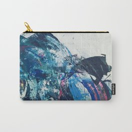 Flourish: a bold, colorful abstract piece in purple, gold, blues and white Carry-All Pouch