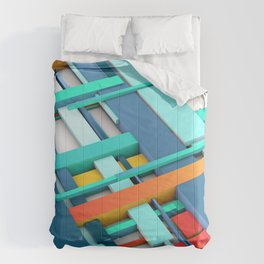 Data Management Algorithm Background in Blue Orange and Yellow Comforters