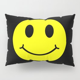 Smiley Happy in yellow color on a black background - EFS166 Pillow Sham