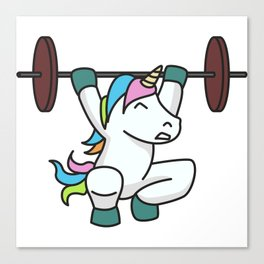 Weightlifting Unicorn fitness gift idea gym weight Canvas Print