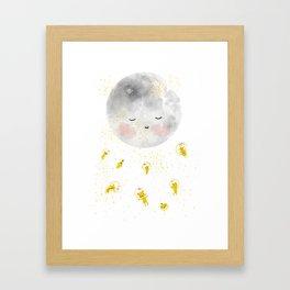 Moon astronaut space, modern kids wall art, Nursery room Poster Framed Art Print