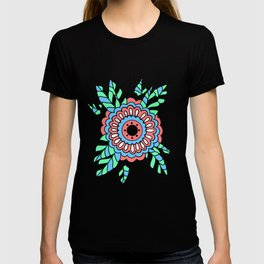 Flower with Leaves Doodle - Coral Green Blue T-shirt