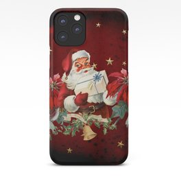 Santa Claus with gifts and christmas flower iPhone Case