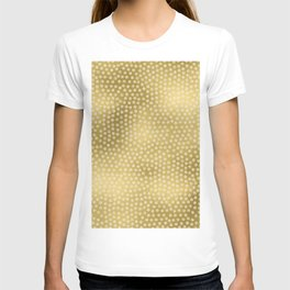 Merry christmas- white winter stars on gold pattern T-shirt
