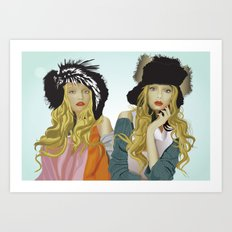 red lip twins Art Print