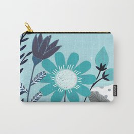 blue flowers and mushrooms illustration Carry-All Pouch