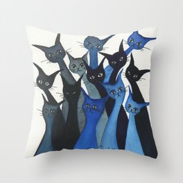 Escondido Whimsical Cats Throw Pillow