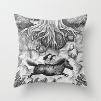 sisters Throw Pillows featuring Sisters by Ulrika Kestere