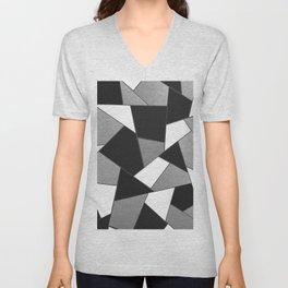 Silver Gray Black White Geometric Glam #1 #geo #decor #art #society6 Unisex V-Neck